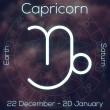 Zodiac sign - Capricorn. White line astrological symbol with caption, dates, planet and element on blurry abstract background with astrology chart. — Stock Photo #66170079
