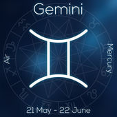 Zodiac sign - Gemini. White line astrological symbol with caption, dates, planet and element on blurry abstract background with astrology chart. — Stock Photo