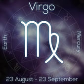 Zodiac sign - Virgo. White line astrological symbol with caption, dates, planet and element on blurry abstract background with astrology chart. — Stock Photo