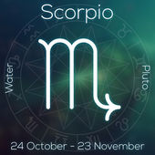 Zodiac sign - Scorpio. White line astrological symbol with caption, dates, planet and element on blurry abstract background with astrology chart. — Stock Photo
