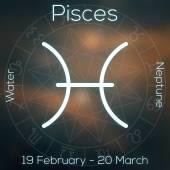 Zodiac sign - Pisces. White line astrological symbol with caption, dates, planet and element on blurry abstract background with astrology chart. — Stock Photo