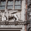 Winged lion, symbol of the city, with the Doge — Stock Photo #67194115