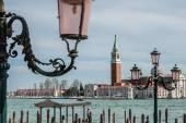 Church of San Giorgio Maggiore and ornate lampposts — Stock Photo