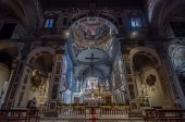 Interior of the Chiesa di Ognissanti is a church in Florence — Stock Photo