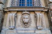 Lion head relief on the facade of Pitti Palace, Florence, Italy — Stock Photo