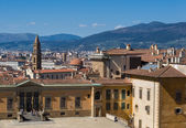 Entrance to Pitti Palace and view of the city on background. — Stock Photo