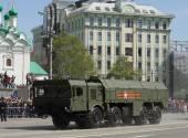 9K720 Iskander is a mobile short-range ballistic missile system. — Stock Photo