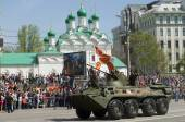 BTR-80 is an 8x8 wheeled amphibious armoured personnel carrier. — Stock Photo
