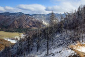 Mountain pass covered witn snow — Stock Photo