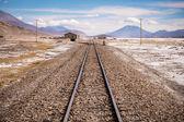 Train tracks into distant horizon — Stock Photo