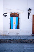 Argentinian Flag Hanging On Patriotic House — Stock Photo