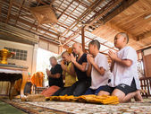 Yasothon Thailand Feb 21 2015 5 oidentifierade asiatiska unga pojkar bli munk — Stockfoto