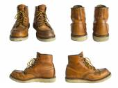 Men's leather shoes isolated on white background. Clipping path. — Stock Photo