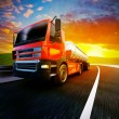 Red semi truck on   road — Stock Photo #63638665
