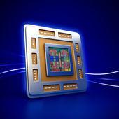 Computer cpu  chip — Stock Photo
