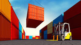 Industrial port with containers — Stock Photo
