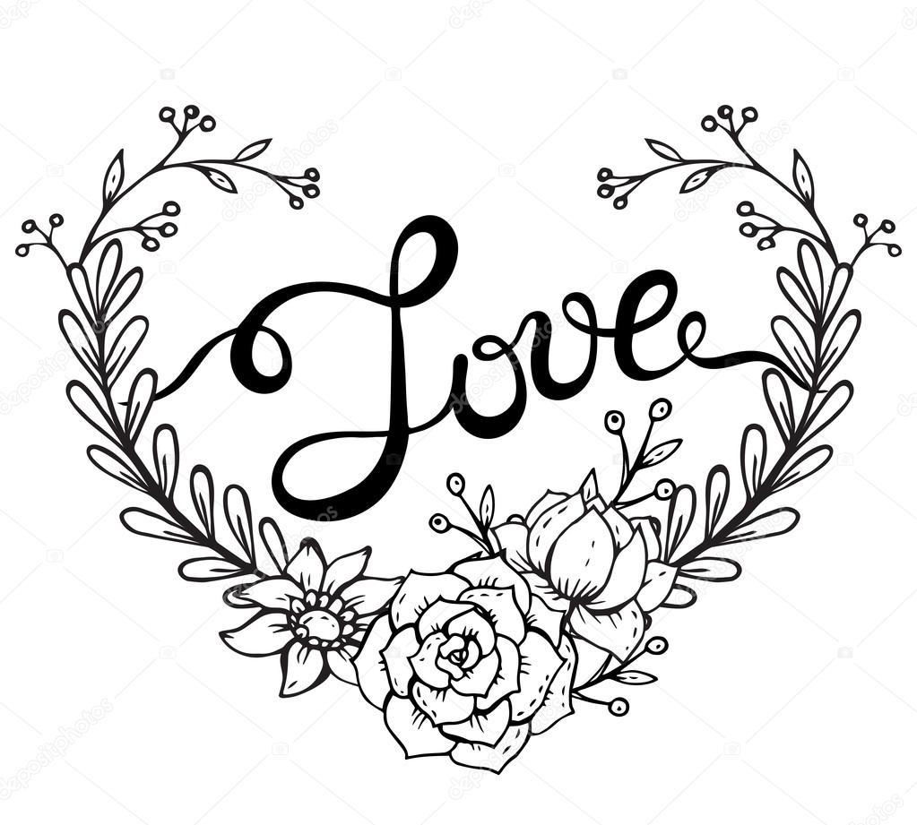 Mano deletreado la palabra amor con guirnalda de flores en ...