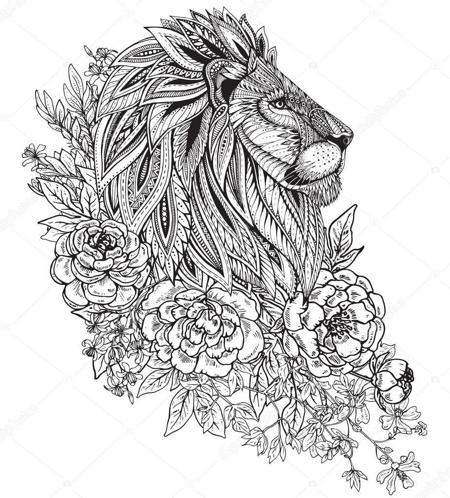 Flower Head Line Drawing : Grafico ornato testa di leone con etnico floreale