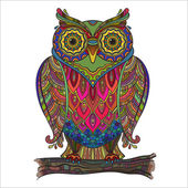 Vector print beautiful decorative owl with a lot of details and co — Vector de stock