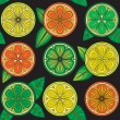 Seamless pattern of oranges, lemons and limes. — Stock Vector #67609381
