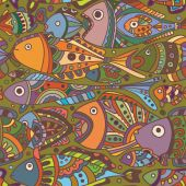 Vector seamless pattern with Fishes green — Vetor de Stock