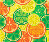Seamless pattern of oranges, lemons and limes. — Stock Vector