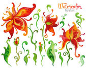 Beautiful Watercolor fantasy flower set over white background fo — Stock Vector