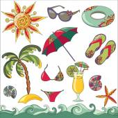 Summer holidays seaside beach icons set. — Stock Vector