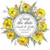 Vintage elegant wedding invitation or card Save the Date with graphic yellow flowers (trollius) — Stock Vector