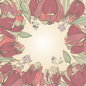 Vector elegance floral background with graphic spring flowers — Cтоковый вектор