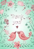 Hermosas tarjetas de felicitación con flores y pájaros. — Vector de stock