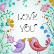 Beautiful greeting card with flowers and birds. — Stock Vector #79047086
