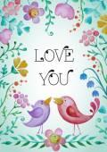 Piękne powitanie karta kwiaty i ptaki. — Wektor stockowy