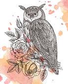 Vector illustration of wild totem animal - Owl in ornamental gra — Stock Vector