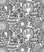 Reticolo senza giunte con disegnato a mano di doodle alberi — Vettoriale Stock