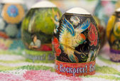 Decorated Easter eggs on the table — Stock Photo