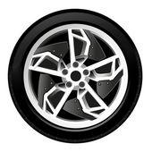 Car wheel, tire, rim, vector — Stok Vektör
