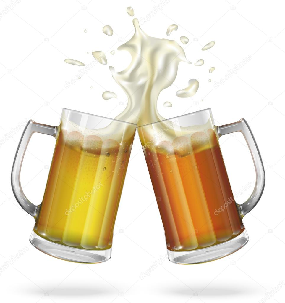 Two mugs with ale, light or dark beer. Mug with beer ...