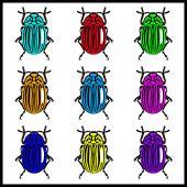 Ultra bright colorado bugs — Stock Vector