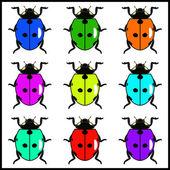 Ultra bright ladybugs — Stock Vector