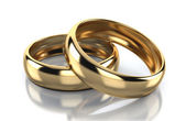 Pair of golden ring isolated on white background — Stock Photo