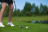 Golfer Hitting a Tee Shot — Stock Photo