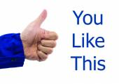 Real hand of thumbs up sign on white background — Stock Photo