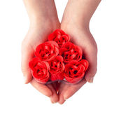 Soap roses heart in hands — Stock Photo
