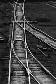 Railway tracks. Monochome — Stock Photo
