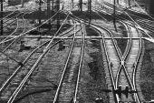 Railway tracks. Monochrome picture — Stock Photo