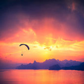 Paraglide silhouette over the sea sunset — Stock Photo