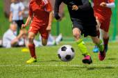 Football match for children. Training and football soccer tournament — Stock Photo