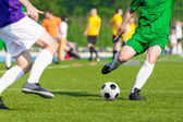 Football soccer game. players playing football match — Stock Photo