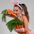 Woman in rabbit costume with carrots — Stock Photo #65674133